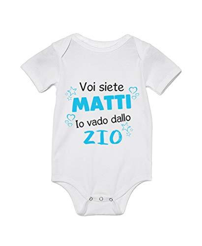 Body de bebé divertido – Disfraz de niño con texto en inglés «Ti Ti sei matti io vado di Zio – Body bebé Zii – Idea regalo blanco S