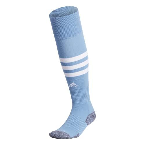 adidas 3-Stripe Hoop Soccer Socks (1-Pair),Team Light Blue/ White,M