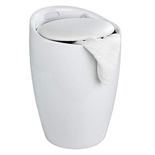 WENKO Portabiancheria e sgabello da bagno Candy bianco - collettore de lavanderia, ABS, 36 x 50.5 x 36 cm, Bianco