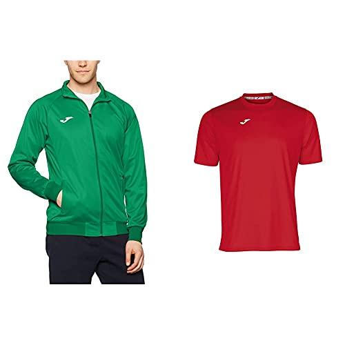 Joma Gala Sudadera, Hombre, Verde, L + Combi Camiseta Manga Corta, Hombres, Negro, L