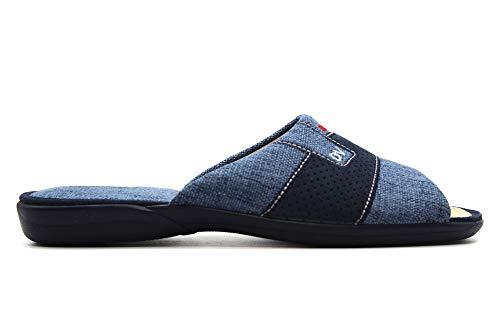 DeValverde - 3161- Zapatillas de IR por casa, Chinela de talón Abierto y Dedos Fuera, Pantufla con Suela de Goma para: Hombre Color: Tejano Talla:41