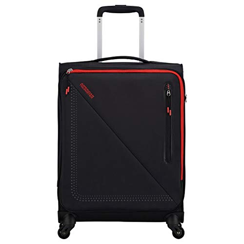 American Tourister Lite Volt - Maleta de cabina con 4 ruedas, talla S, 55/20 cm, color negro y rojo