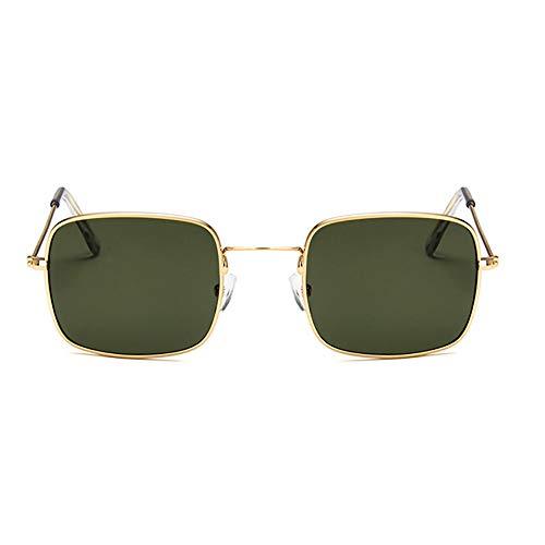NXMRN Gafas De Sol Gafas De Sol Cuadradas Transparentes Retro Mujer Hombre Gafas De Sol Para Mujer Gafas De Sol Pequeñas De Hip Hop-Dorado verde oscuro