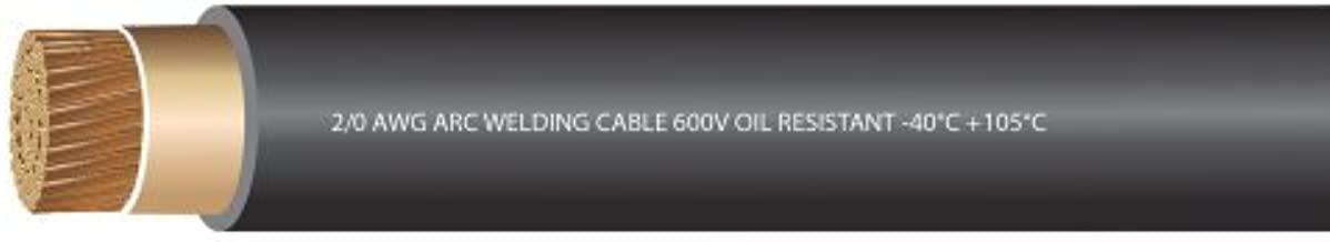 EWCS 2/0 Gauge Premium Extra Flexible Welding Cable 600 Volt - Black - 50 Feet - Made in the USA