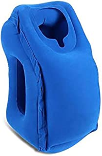 Travel Pillow, Portable Inflatable Travel Pillow Lightweight Multifunctional Head Support Sleep Pillow for Airplane, Bus, Car, Train, Home and Office - Blue