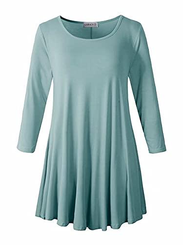 LARACE Women 3/4 Sleeve Tunic Top Loose Fit Flare T-Shirt(2X, Grayish Green)