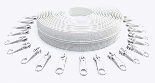 Nuburi - Zipper by The Yard - 5 Yards of Make Your Own Zipper - 20 Zipper Pulls (White)
