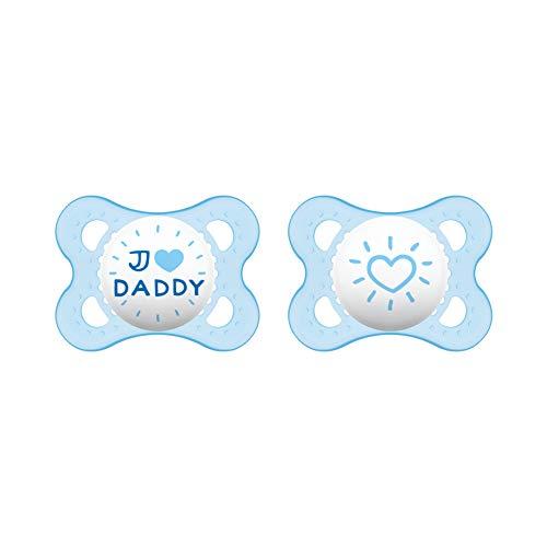 MAM Original Silikon Schnuller im 2er-Set, zahnfreundlicher Schnuller, Baby Schnuller aus speziellem MAM SkinSoft Silikon mit Schnullerbox, 0-6 Monate, I love Daddy