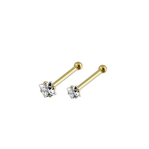 2 Stück-Box-Set von 9K Solid Gelb Gold Klaue Zeichendreieck CZ Stein 22 Gauge Ende Nase Kugelbolzen Piercing