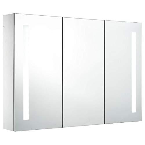 vidaXL Armario de Cuarto de Baño con Espejo y LED Mobiliario Hogar...