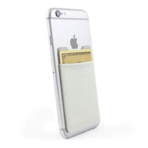 HULI Hochwertiger Kartenhalter für das Smartphone (Silber) - Haftendes Kartenfach mit RFID Blocker und Einer Kapazität für 6 Karten