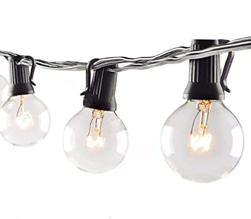 Abeja Outdoor Patio String Lights G40-100FT with 105 Clear Globe Bulbs, UL Listed for Backyard Bistro Gazebos Pergolas Balcony Gathering Party, Black