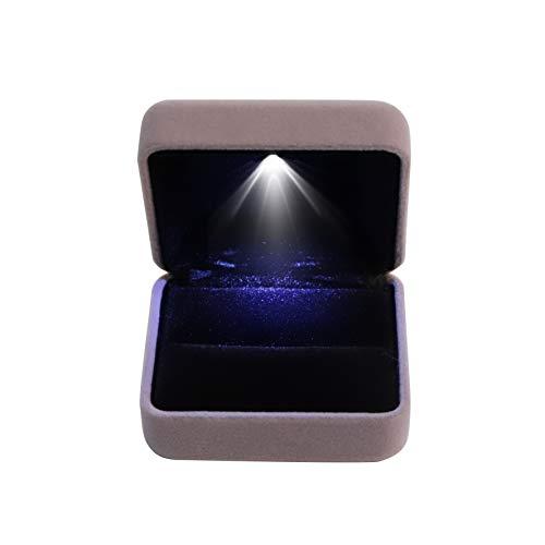 BLU-DAMOND Ring-Box aus edlem Samt | Designer Schmuck-Kästchen mit LED-Beleuchtung | zertifizierte Qualität | Etui für Verlobung Hochzeit Valentinstag Geschenk Jubiläum (grau)