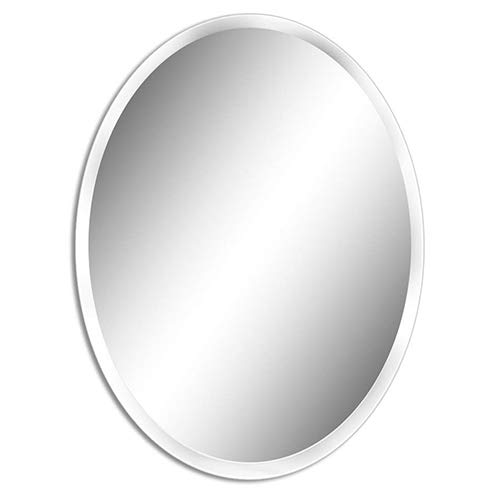 FANYUSHOW 19.7 x 27.6 Oval Beveled Polished Frameless Wall Mirror for Bathroom, -