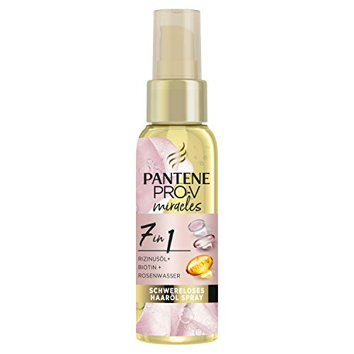 Pantene Pro-V Miracles 7-in-1 Weightless Hair Oil Spray 100 ml with Castor Oil + Biotin + Rose Water, Beauty, Hair Care Dry Hair, Hair Care Shine, Hair Care