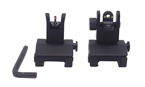 AWOTAC Iron Sights Fiber Optics Flip Up Rapid Transition Front and Rear Sights with Red and Green...