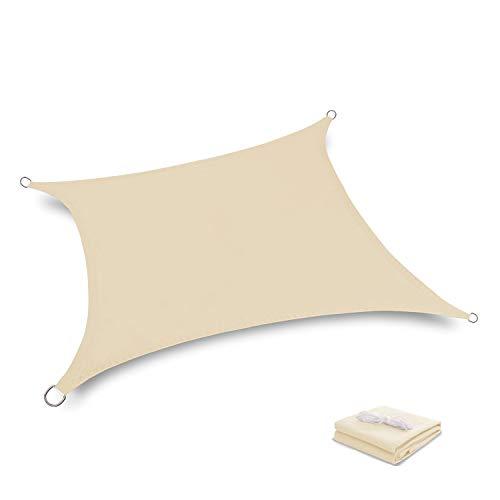 Tuosite Terylene Waterproof Sun Shade Sail UV Blocker Sunshade Patio Rectangle Knitted 220 GSM Block Fabric Pergola Carport Awning 10' x 13' in Color Beige