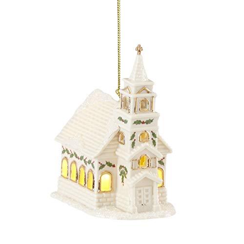 Lenox Christmas Village Church Lighted Ornament, 0.50 LB, Ivory