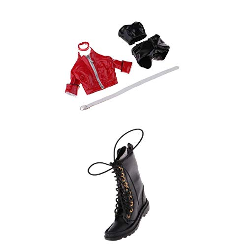 T TOOYFUL 1/6 Scale Lederjacke Lederhose Weste Halskette Schuhen Kleidung Set für 12inch Action Figuren