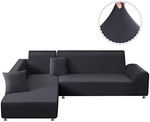 Best TAOCOCO Sectional Couch Covers 2pcs L-Shaped Sofa Covers Softness Furniture Slipcovers with 2pcs Pil
