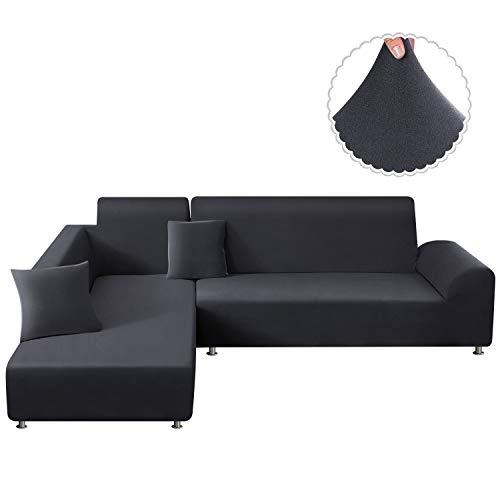 TAOCOCO Sofa Überwürfe Sofabezug Elastische Stretch für L-Form Sofa Abdeckung 2er Set für 3 Sitzer + 3 Sitzer mit 2 Stücke Kissenbezug (Grau)
