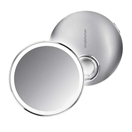 simplehuman Miroir Compact, Acier Inoxydable brossé, 10 cm — grossissement x3
