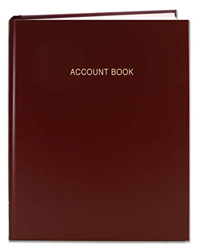 "BookFactory Account Book/Ledger Book/Accounting Ledger/Account Notebook (Columnar Book Format) - 168 Pages, 8"" x 10"", Burgundy Cover, Smyth Sewn Hardbound (ACT-168-S4CM-A-LMT16-AX)"