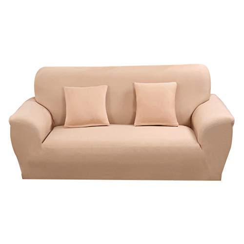 Hotniu 1-Stück Elastisch Sofaüberwurf, Sofaüberzug Polyester, Sofahusse Sofa Abdeckung Stretch, Sofabezug für Sofa, Couch, Sessel zum Schutz, mehrere Farben (3 Sitzer 175-220cm, Khaki)