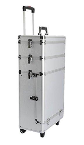IQE-Storage 3-teiliges Transportsystem TB-M8, 3 Koffer, Spannschlösser, LxBxH: 61 x 43 x 24 cm, Silber, Transportbox, Koffer, Kiste