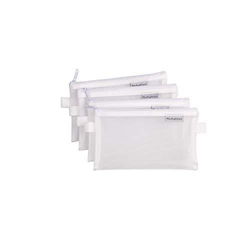 Bleistift tasche mesh pen fall reißverschluss große auf kosmetische tasche für stifte bleistifte werkzeuge und schulsachen, lagerung beutel tasche fälle, satz 4 (M-Weiße)