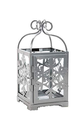 """Hosley Silver Metal Snowflake Lantern- 11"""" High. Ideal Gift for Festivities, Parties, Weddings, Aromatherapy and spa Settings P2"""