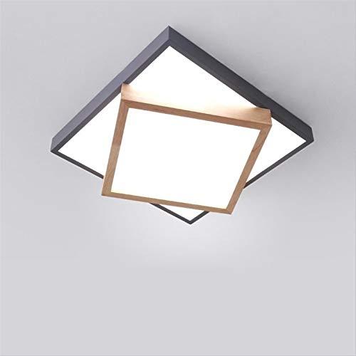 Sebasty Lámpara LED de techo de madera de estilo nórdico, para sala de estar, sala de matrimonio, diseño geométrico, cuadrado, interior de la habitación de hierro forjado (40 x 9 cm)