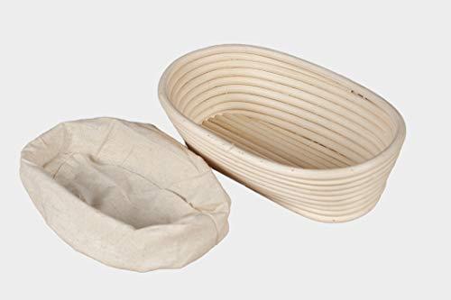 Cesta ovalada para prueba de pan, cesta de prueba de pan de ratán natural, cesta de prueba para panaderos caseros con forro de tela (25 x 15 x 8 cm), hecha a mano