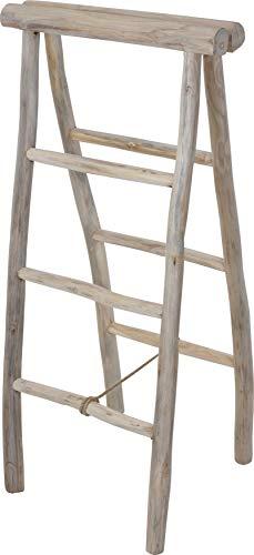 Fair-Shopping Handtuchhalter Teak-Holz-Leiter Handtuch-Ständer Klappleiter Dekoration Größen Variation J560/550 (100 x 45 x 50 cm (J550))