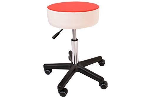 Promafit Fritz - Sgabello a rotelle con ruote in poliuretano, ergonomico, regolabile in altezza (rosso/bianco)