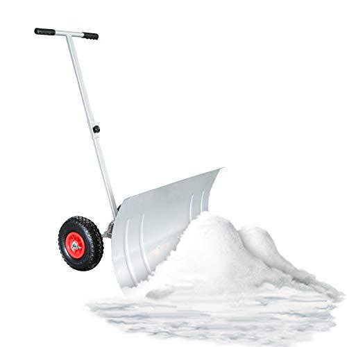 wolketon Schneeschaufel mit Rädern - 5-fach Höhenverstellbar Schneeschieber mit 74cm Extra-breiten Kunststoffüberzug Blatt