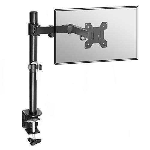 "Fully Adjustable Single Long Arm Monitor Mount | For 13-27"" Screens | Height Adjustable | Ergonomic Tilt, Rotate & Swivel | Easy Installation | M&W"