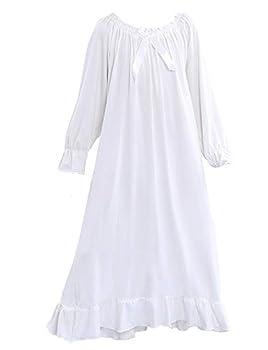 PUFSUNJJ Kids Girls Soft Cotton Nightgown Sleepwear Dress Toddler 3-12 Years Off White