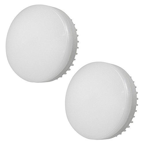 DASKOO, confezione da 2 lampadine a LED, 70 W, in alluminio e policarbonato, luce bianca calda, corrente alternata 85-265 V, con attacco GX53