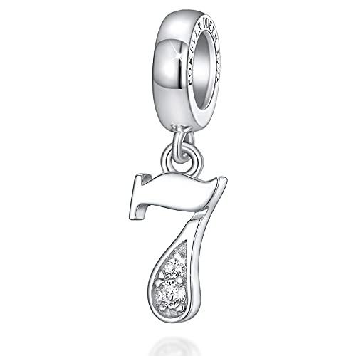 FOREVER QUEEN Ciondoli con numeri Ciondolo con numeri in argento sterling 925 per braccialetti con ciondoli, ciondolo con numeri significativi per compleanno / anniversario…