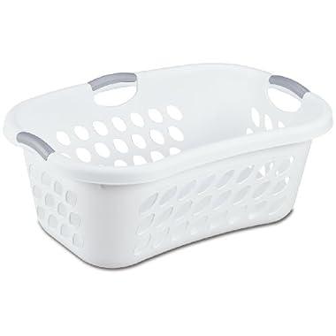 Sterilite 12108006 1.25 Bushel/44 Liter Ultra Hip Hold Laundry Basket, White Basket w/ Titanium Inserts, 6-Pack