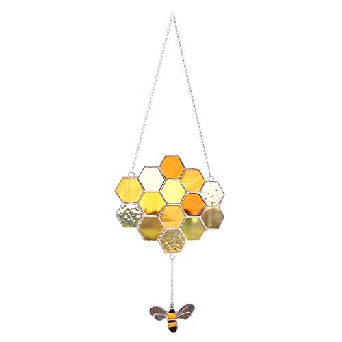 Fensterbehänge Dekoration für Sun Catcher Ornament, Buntglas Honeycom, mit Hummel Charm Suncatcher Hängende Dekoration Buntglas Suncatcher Window Panel