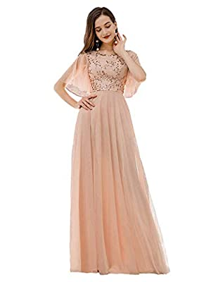 Ever-Pretty Women's Elegant Sequin Embroidery Short Ruffle Sleeve Tulle Bridesmaid Dress Blush US4