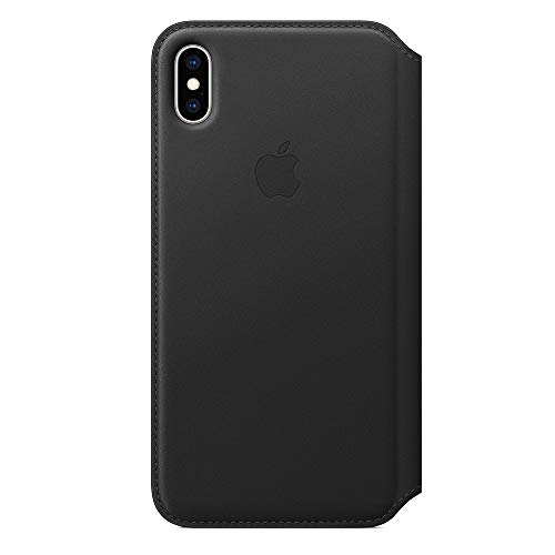 AppleiPhoneXSMaxレザーフォリオ-ブラック