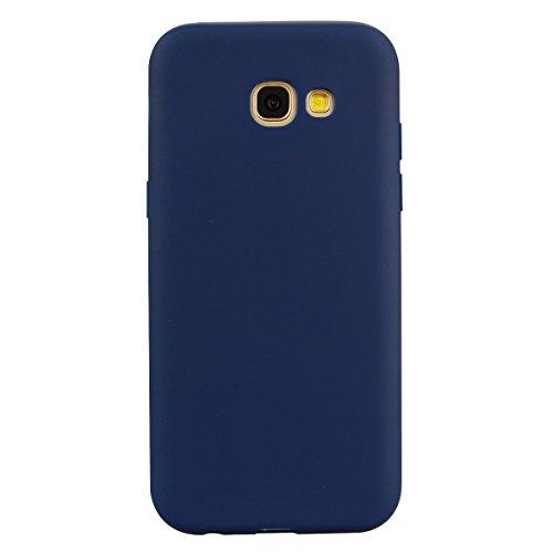 cuzz Funda para Samsung Galaxy A5 2017+{Protector de Pantalla de Vidrio Templado} Carcasa Silicona Suave Gel Rasguño y Resistente Teléfono Móvil Cover-Azul Oscuro