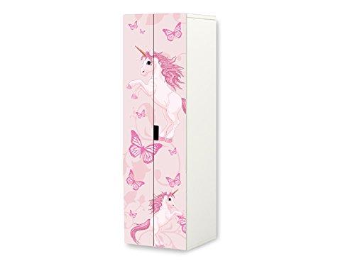 Stikkipix Einhorn Möbelfolie | SKL23 | passend für den STUVA Kleiderschrank von IKEA | passgenauer Möbelaufkleber (Korpus 60 x 192cm) | Möbel Nicht Inklusive