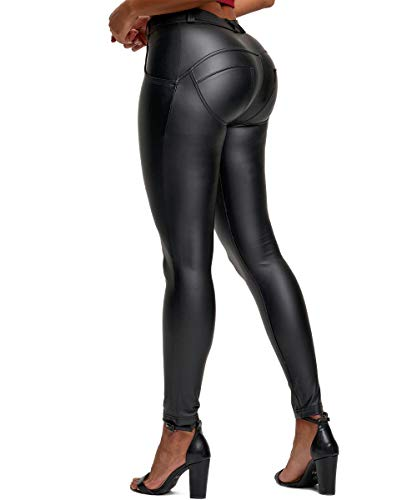 AIMILIA Women's Faux Leather Leggings Pants PU Elastic Butt Lifting Black Sexy Stretchy High Waisted Slimming Tights