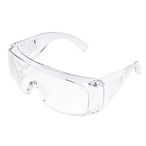 Slocyclub Safety Goggles Over-Glasses Safety Glasses with Clear Anti-Scratch Wraparound Lenses UV Protection