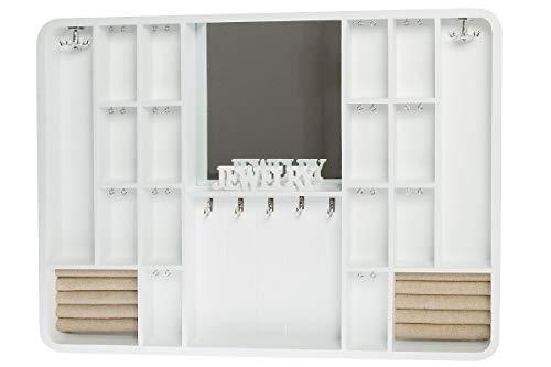 My Flair Schmuckkästen, MDF, Glas, Stoff, Weiß, Hellbraun, 60 x 4 x 45 cm