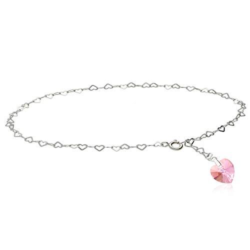 Kristallwerk Fußkette, Fußkettchen 925 Silber mit Swarovski Elements Herz in der Farbe Rosè AB